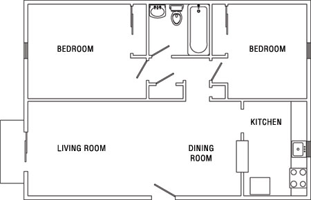 diagram of a two bedroom apartment at Surrey Gardens Apartments